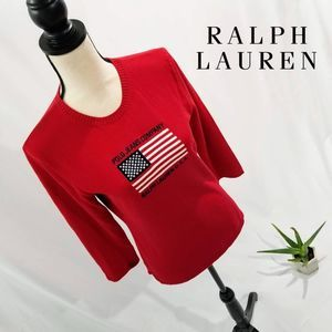 Classic Ralph Lauren USA Red Sweater 3/4 Sleeve  L
